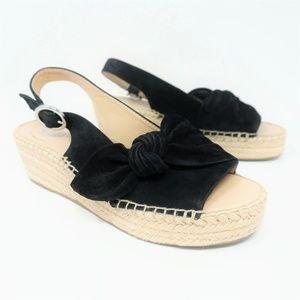 NWOT Franco Sarto Sandals Pixie Suede Black Bow